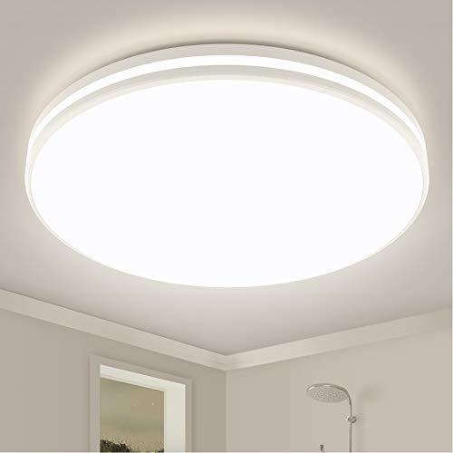 Lámpara de techo para cuarto de baño, 24W redonda IP44 resistente al agua moderna 4000K 2250 lm diámetro de 32cm color blanco neutro para baño cocina balcón pasillo sótano comedor dormitorio