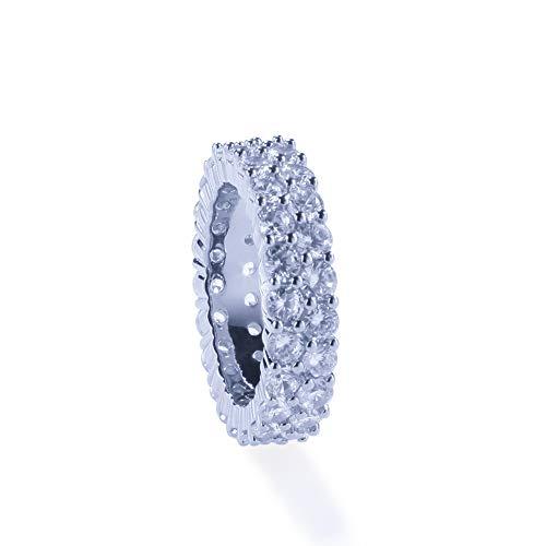 Street dance rap tendenza moda doppia fila zircone anello uomo e donna anello gioielli amanti gioielli DJ anello festa accessori cocktail (oro, argento),anello-Silver-9