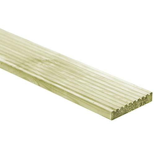 Festnight- 12x Holzfliesen Terrassendielen | Holzboden aus Impr?gniertes Kiefernholz | Wasserfest Fliesen für Terrasse Balkon Garten, Grün 150 x 14,5 x 2,7 cm