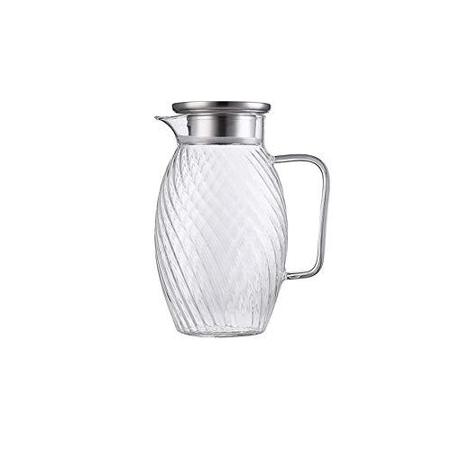 HJYSQX Jarra de Agua de 1,5 litros/litro, Jarra, Jarra de Vidrio con Tapa de Acero Inoxidable, Jarra con Inserto de Frutas, Jarra de Vidrio Apta para lavavajillas, Botella de Agua fría de Gran ca