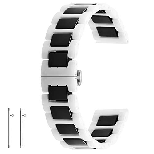 Kai Tian Reloj de pulsera de cerámica de liberación rápida, 20 mm, 22 mm, cierre plegable, para hombre y mujer, color blanco y negro, 20mm,