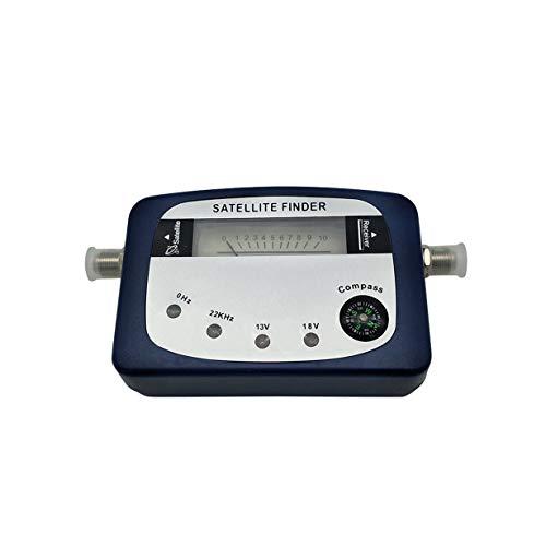 camellia SF-07 Buscador de satélite Identificador de señal Receptor de satélite Sistema de recepción de TV Medidor de Fuerza Detector Puntero con brújula (Azul)