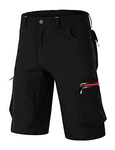 Bestgift Los hombres de verano de secado rápido pantalones flojo elástico transpirable al aire libre ciclismo pantalones para hombre de montaña ciclismo pantalones cortos para hombre, negro/rojo, 54