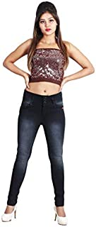 G GOD`S CLUB Woman Jeans high Skinny fit with 3 Button Fashion Black