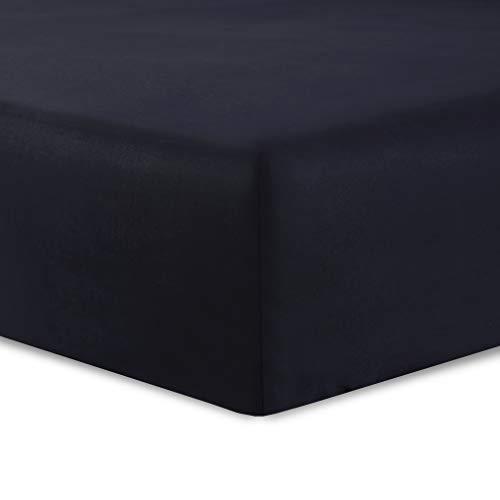 VISION Drap housse Noir - 160 x 200 cm - 100% coton