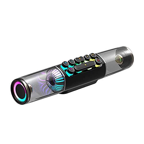 GAOFG Altavoz Bluetooth para Ordenador de 20W con Llave mecánica para Juegos Barra de Sonido - Sonido bajo el Monitor del PC Bluetooth 5.0 Colorido 100% sRGB High Color Gamut,Negro