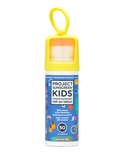 Project Sunscreen Roll-On SPF 50 Sun Protection for Kids - Natural Mineral Based and Water Resistant Formula For Sensitive Skin - 3 Ounce, All Fun & Games - Blue