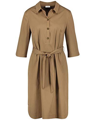 Gerry Weber Damen Hemdblusenkleid mit Bindegürtel tailliert Khaki 42