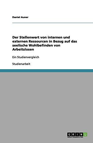 Der Stellenwert von internen und externen Ressourcen in Bezug auf das seelische Wohlbefinden von Arbeitslosen: Ein Studienvergleich