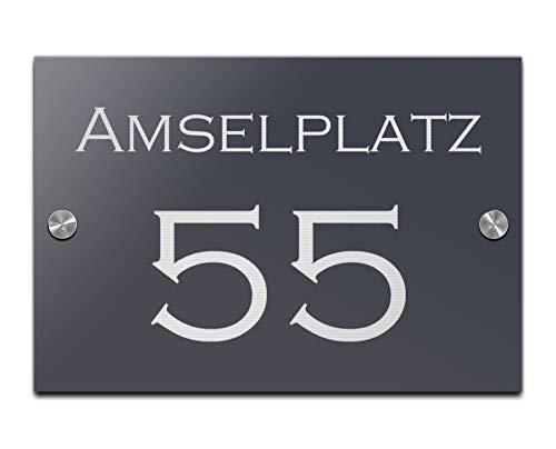 Hausnummer mit Gravur Straße und Ziffern Zahlen wetterfest in versch. Größen ab 16x11 cm rechteckig Edles Hochglanz Acrylglas in schwarz und anthrazit Hausnummern Schild für Garten Haus