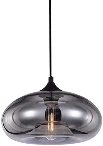 Glazen lamp, industriële coated grijze kroonluchter, retro plafondlamp voor eetkamer, keuken, eiland, slaapkamer en woonkamer
