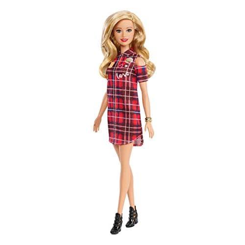 Barbie Fashionistas Bambola con Vestito Plaid, GBK09