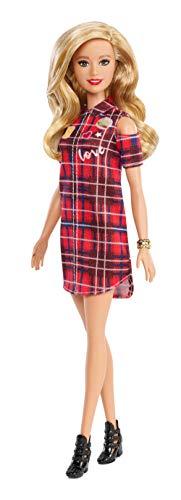 Barbie GBK09 - Fashionistas Puppe im Plaidmuster Kleid mit blonden Haaren, Puppen Spielzeug ab 3 Jahren