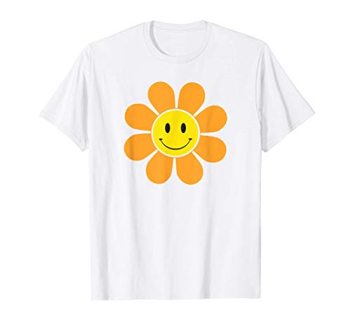 Orange 70s Retro Funky Flower with a Yellow Smiley Face T-Shirt