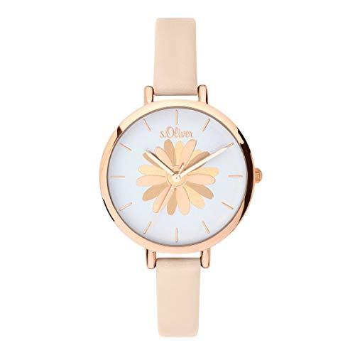 s.Oliver Damen Analog Quarz Uhr mit Leder Armband SO-3705-LQ