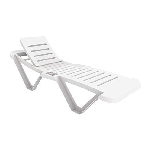 Resol Master Polypropylene Plastic White Sun Loungers - Stylish and Durable Furniture for Your Garden - Pack of 2