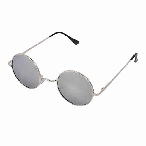 Senmubery Gafas de Sol Redondas Polarizadas de Moda Clásica para Hombres Recubrimiento Retro Retro Gafas de Sol (Plata)