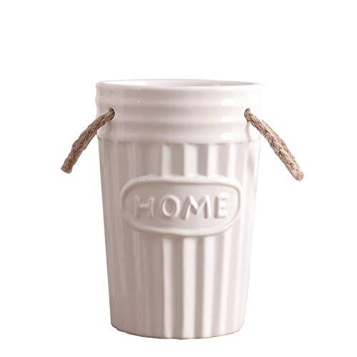 WANZSC Retro Bucolic Keramik Eimer Vase Dekorative Home Porzellan Buchstaben Blume Kübel Hanf Seil Pflanztopf Garten Ornament Zubehör (S)