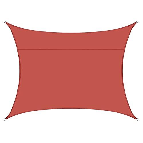 malla terraza exterior Toldo de toldo rojo de óxido rectangular, protector solar e impermeable vela de sombra, jardín al aire libre arena sol sombra vela tela duradera canopy 6.6x8 ft cortinas jardin