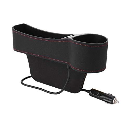 Caja de relleno de relleno de asiento de coche Caja de almacenamiento de caja de almacenamiento de la caja de almacenamiento de bolsillo lateral dual USB cargador tapa de la tapa de la copa automática