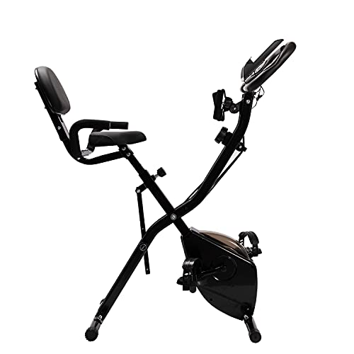 NIMO Bicicleta Estática Plegable,Magnetorresistencia de Nivel 8, Asiento con Apoyabrazos y Respaldo,Bicicleta estática Plegable NEGRO (A10)