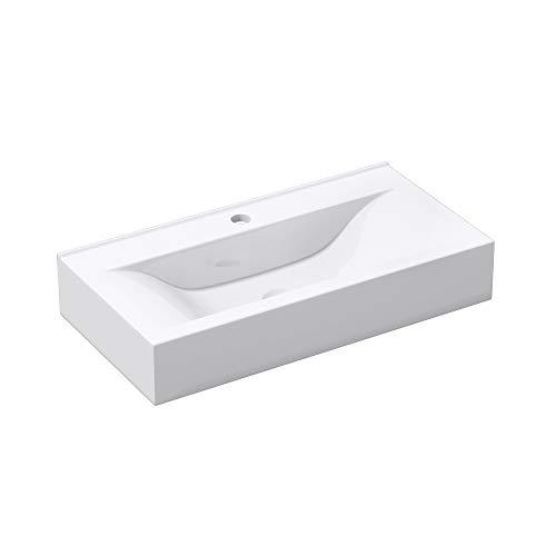Hängewaschbecken Brüssel118g mit Nano-Beschichtung/Lotus-Effekt, BTH: 60x31x10 cm, in weiß, aus Keramik, rechteckig