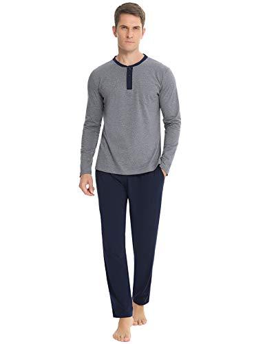 Hawiton Herren Schlafanzug Lang Pyjama Nachtwäsche Set mit Tasche Zweiteiliger aus Baumwolle mit Pyjamahose und Langarm Shirt Rundhals Hausanzug für Herbst Winter