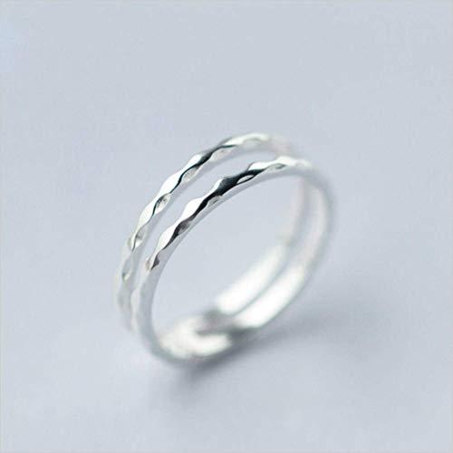 925 zilveren Ring Women'S Japan en Zuid-Korea Sweet Double Layer Wave Opening Ring Women'S Index Vinger Ring Kind Ring, S925 zilveren Ring, Opening verstelbaar, EEH A ZILVER