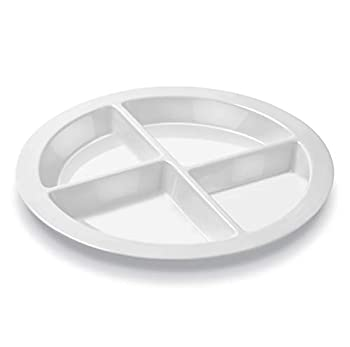 Portion Plate For Adults and Teens – Pure White - With 4 Divided Sections - MyPlate - 1 Plate