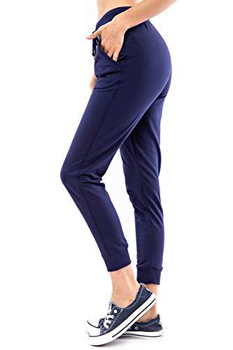 Another Day Calça de moletom feminina casual slim terry francês com bolsos laterais, Azul marino, S