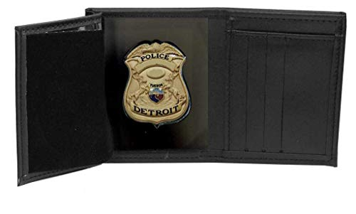 Perfect Fit Shield Wallets Detroit Police Recessed Badge Wallet (Cutout 187, 2.6 inches tall), Black, One Size