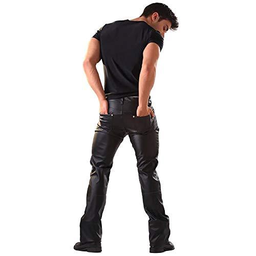 AFYH Lacklederhosen, Herrenhosen, Performance-Kleidung Casual-Anzug, Hell Und Tragbar, Lose Mode, Kunstleder, Komfortabel Und Leicht Zu Entsprechen,XL