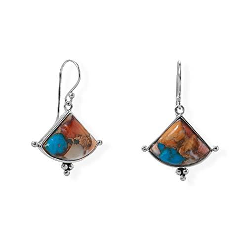 Pendientes de plata de ley 925 con forma de triángulo de turquesa y alambre francés de piedra comprimida Mea joyas regalos para mujeres