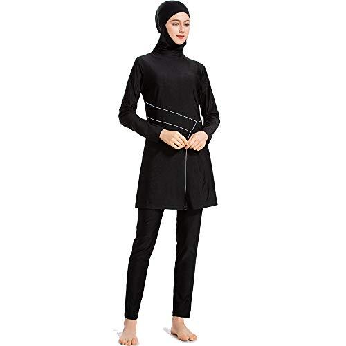 XDXART Mode för kvinnor muslimsk baddräkt siames toppar hatt långbyxor långärmad badkläder strandkläder islamisk kostym Svart L