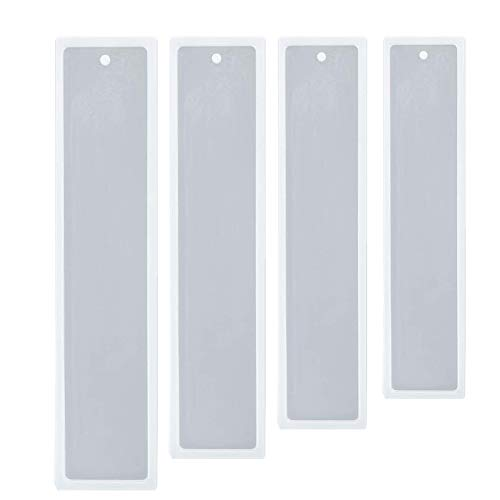 4 Pcs Rectangle Translucent Silica Gel Bookmark Mold DIY to Make epoxy Resin Jewelry DIY Process Mold 5.5 inches