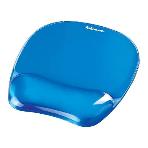 Fellowes Mauspad mit Handgelenkauflage Crystals, mit Gelfüllung, ergonomisch, abwaschbar, für Büro und Home Office, Farbe: blau