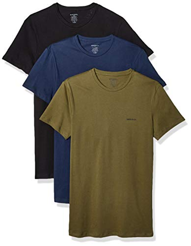 Diesel UMTEE-JAKETHREEPACK, T-shirt Uomo, Multicolore (Black/Dress Blues/Olive Night E4079-0Aalw), XXL, Pacco da 3