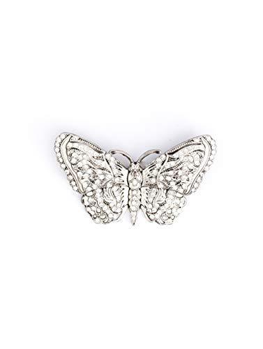 MYINTOX Schmetterling Crystal Silver – handgefertigte echt versilberte Damen Brosche, Swarovski®️ Kristalle, Schmuck Anstecknadel, 2 in 1 Ketten Anhänger & Pin, nachhaltiges Accessoire, Silber