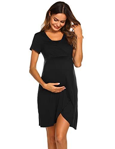 Ekouaer Nursing Dress,Maternity Nightgown Women's Delivery/Labor Breastfeeding Sleep Dress (Black-9998, Medium)
