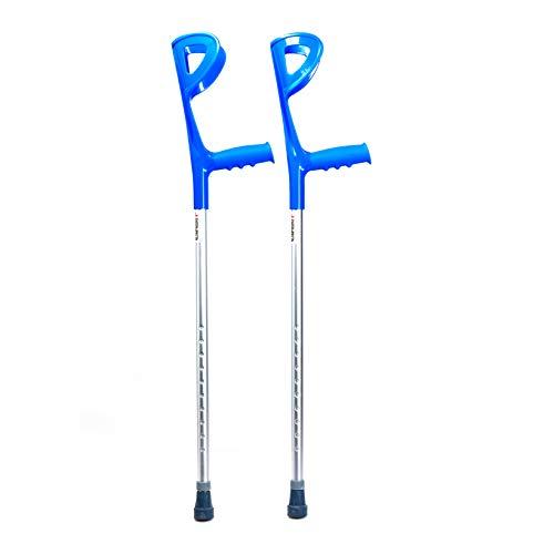 Par de muletas canadienses Advance ortopédicas de aluminio para Deambulación Adulto – Ergonómicas y regulables en altura – con puntera y palo antideslizante y apoyo antibraquial para equilibrio
