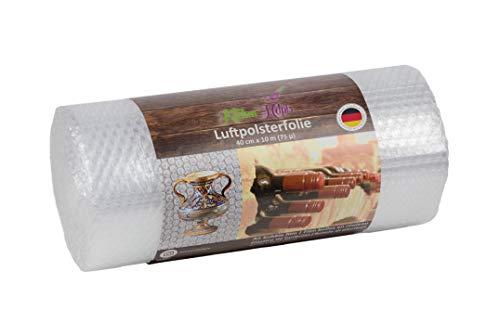 Kitchen Helpis® Hochwertige Luftpolsterfolie 10 m x 40 cm (75µ dicke – 3-lagig) Made in Germany, Verpackungsfolie für Porzellan und zerbrechliche Gegenstände, Versandfolie, Polsterfolie, Blisterfolie