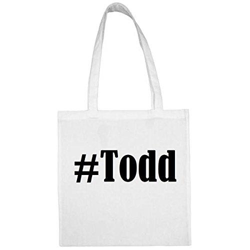 Tasche #Todd Größe 38x42 Farbe Weiss Druck Schwarz