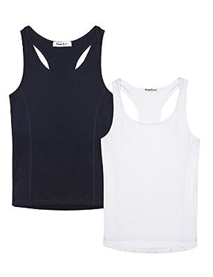 Hawiton Women 2 Pieces Racerback Tank Tops Camis Workout Active Shirts Tees