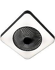 QAZQA Design Plafondventilator met lamp vierkant zwart incl. LED dimbaar - Climo Kunststof/Staal Vierkant LED inbegrepen Max. 1 x 40 Watt