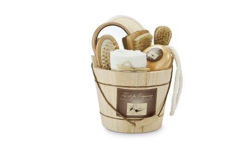 'Set di benessere e set regalo 'legno ZUBER–Specchio, Spazzola per capelli, Asciugamano ospite, massaggio guanto, 120G di sapone, Spazzola per unghie, Spazzola facciale, in secchio di legno, fragranza: Vaniglia