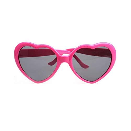 Nihlsfen Gafas de Sol de Moda con Forma de corazón, Marco de plástico, Espejo UV400, Unisex, Gafas de Sol para niños y Adultos, Gafas para Viajar