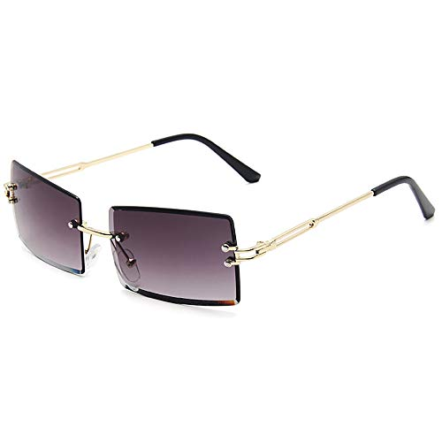 SHEEN KELLY Square Ultra-Small Frame Sonnenbrille für Frauen Männer Rectangle Retro durchsichtige Linse randlose Sonnenbrille