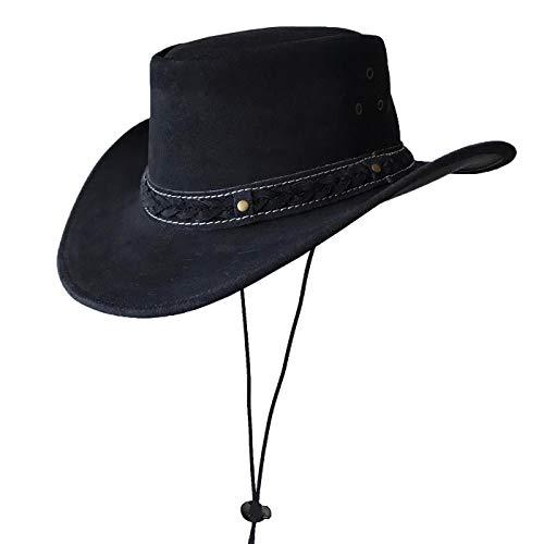 BRANDSLOCK Australischer Lederhut mit geflochtenem Band Original Cowboy Australischer Buschhut (S, Schwarz)