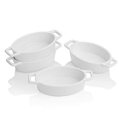 LOVECASA 6.3 inch Porcelain Ramekins, Set of 4 Souffle Dishes, 6 OZ White Oval Ceramic Creme Brulee Baking Ramekin Dishes Bowl with Double Handle, Oven Safe Ramekins Bowls Sauce Dipping Bowls. 4.7 x 3.3 x 1.5 inch