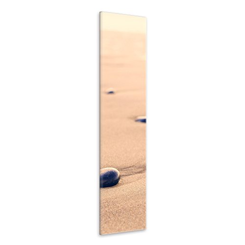 malango® Leinwandbild Sand Steine Wanddekoration Wellness Oase Wanddesign Fotoleinwand handgefertigt Kunstdruck Bild Foto Design 35 x 120 cm